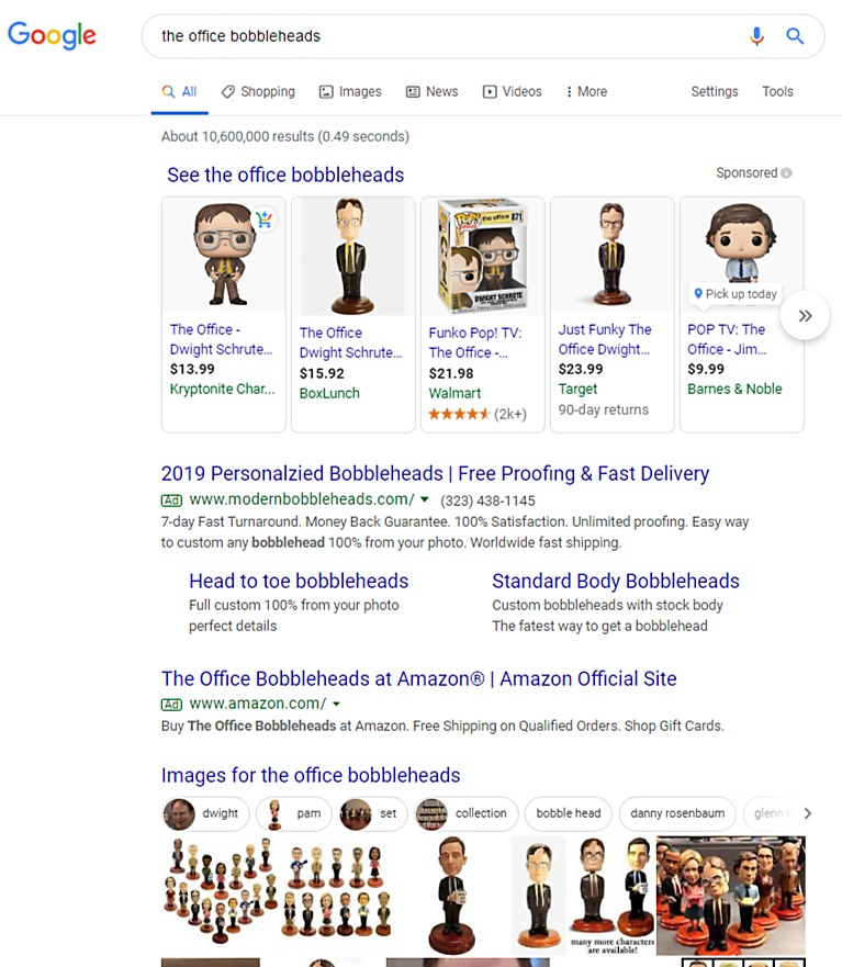 google shopping desktop view